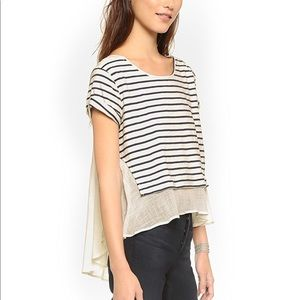 Free People French Grey Striped Tee